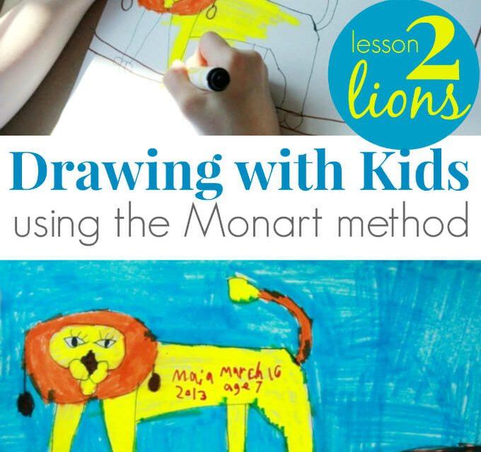 Dessin pour les enfants : : Lions ! (Leçon 2 de la méthode Monart)