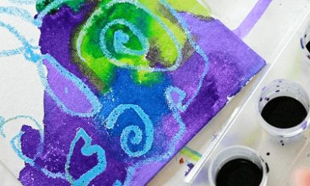 Crayons Fondants Art sur Toile + Résiste à l'Aquarelle