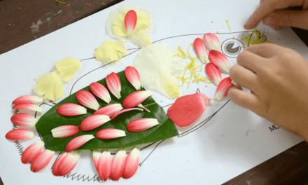 Artisanat de poisson avec des objets de la nature