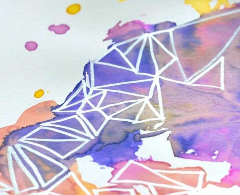 L'art de l'aquarelle géométrique bricolage avec la technique de l'enveloppement Saran