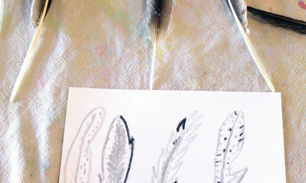 L'art de la plume dans une boîte – Une activité de dessin et de peinture de la nature pour les enfants