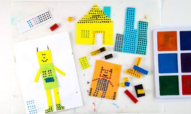 Créez des tirages LEGO faciles pour les enfants (avec des tampons LEGO + tampons encreurs) !