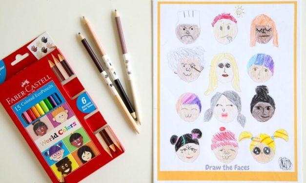 Dessiner des gens du monde entier avec de nouveaux crayons de couleur (+ PRINTABLE GRATUIT)